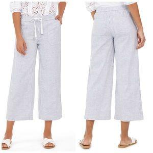 Style & Co Blue & White Striped Linen Pants Plus